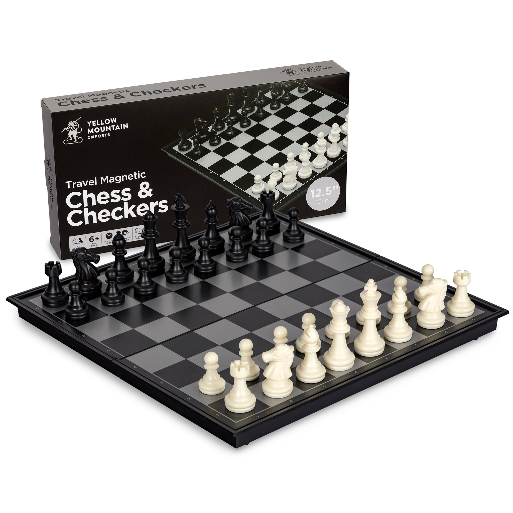 Yellow Mountain Imports 2 in 1 Travel Magnetic Chess and Checkers Game Set, 12.5 Inches