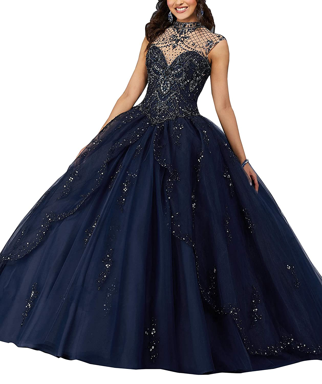 Navy Wanshaqin Women's Beaded Halter Sweetheart Ball Gowns Wedding Dresses Organza Ruffles Quinceanera Dresses for Sweet 16