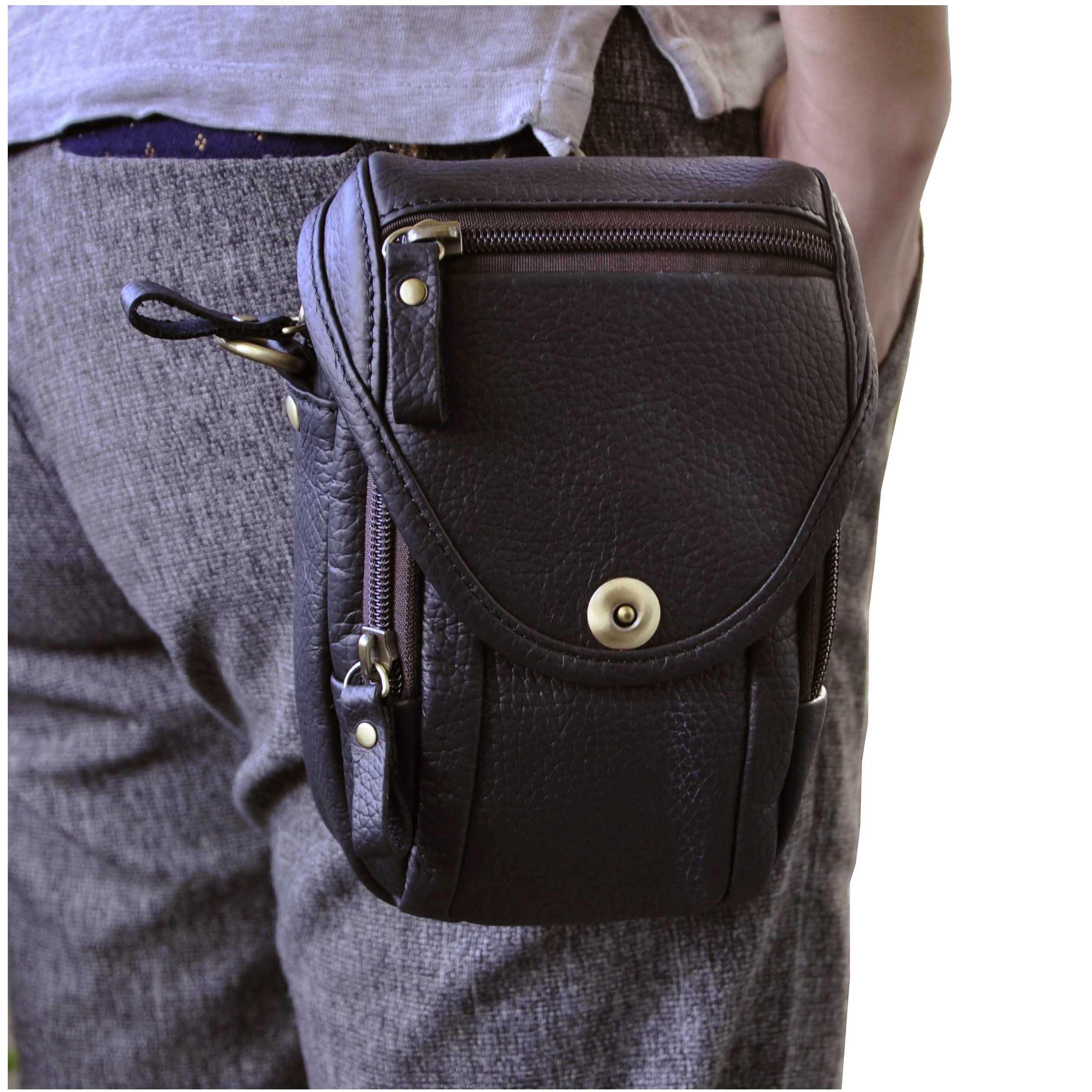 Le'aokuu Mens Vintage Fanny Small Messenger Shoulder Satchel Genuine Leather Waist Bag Pack (The 269 Black)