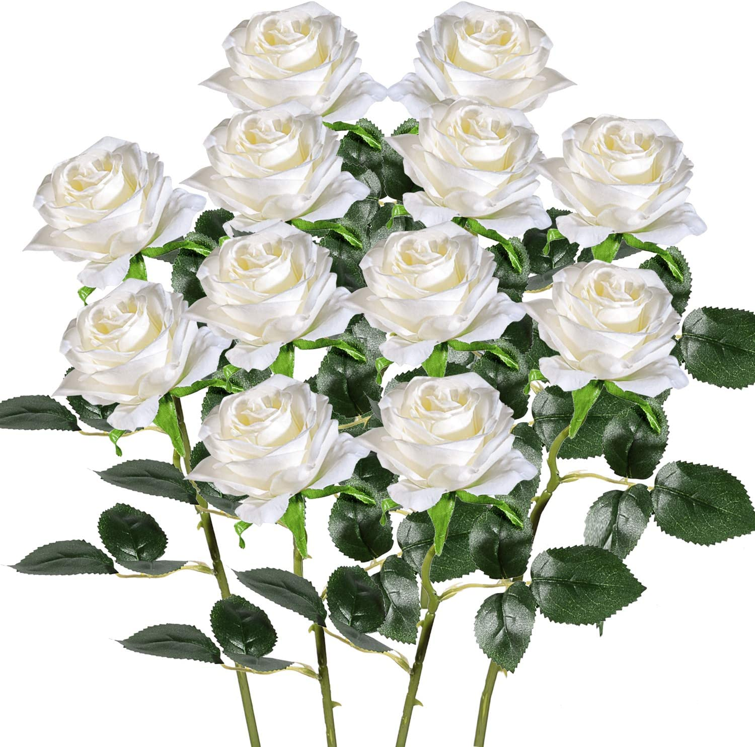 Artificial Fake Roses with Long Stem, IGIYI 12 Pack Milky White Flowers Silk Rose for DIY Wedding Home Decorations Bouquet