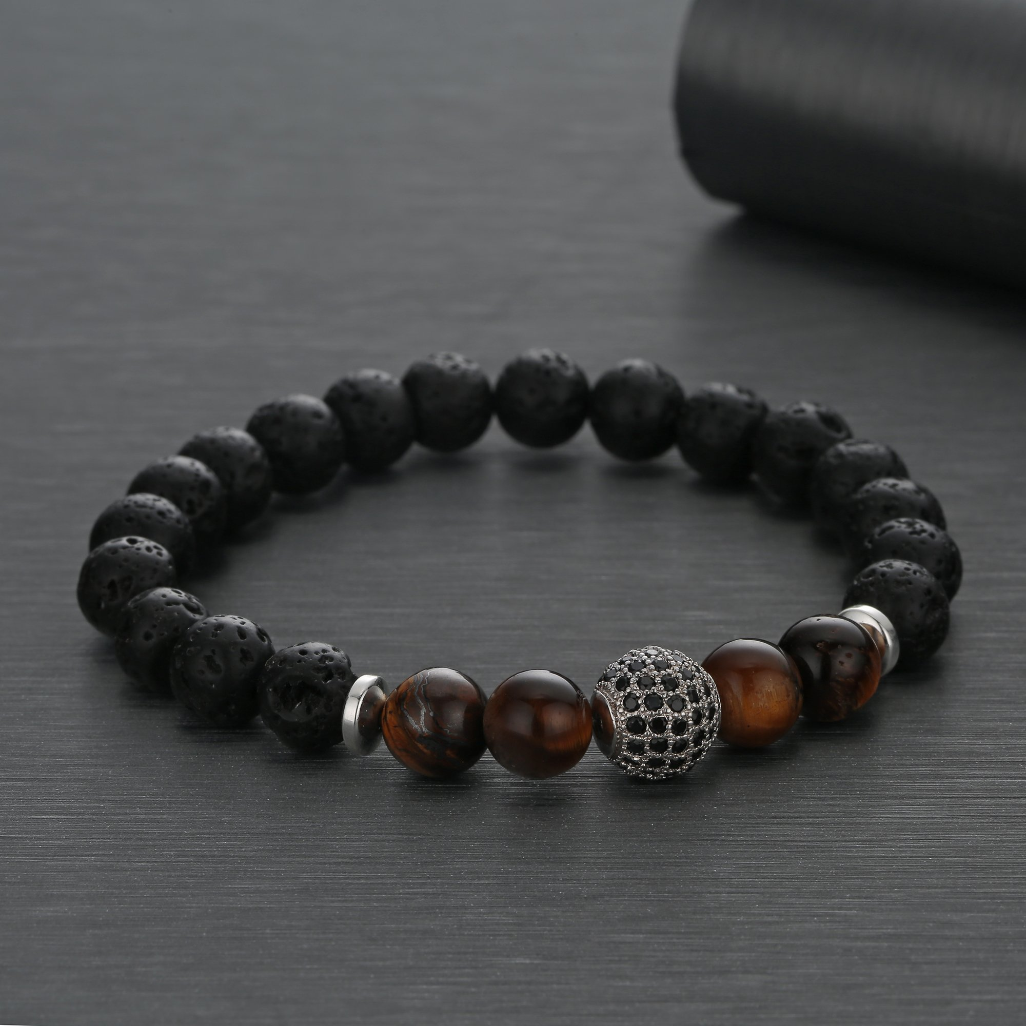 Joya Gift Lava Rock Stone Essential Oil Diffuser Yoga Bracelet with Silver CZ Ball for Women Men
