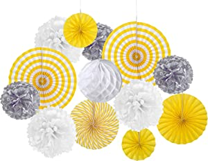Paper Jazz Yellow Blue Grey Party Decoration Pack kit Supplies for Birthday Baby Shower Bridal Shower Wedding (Yellow Grey)