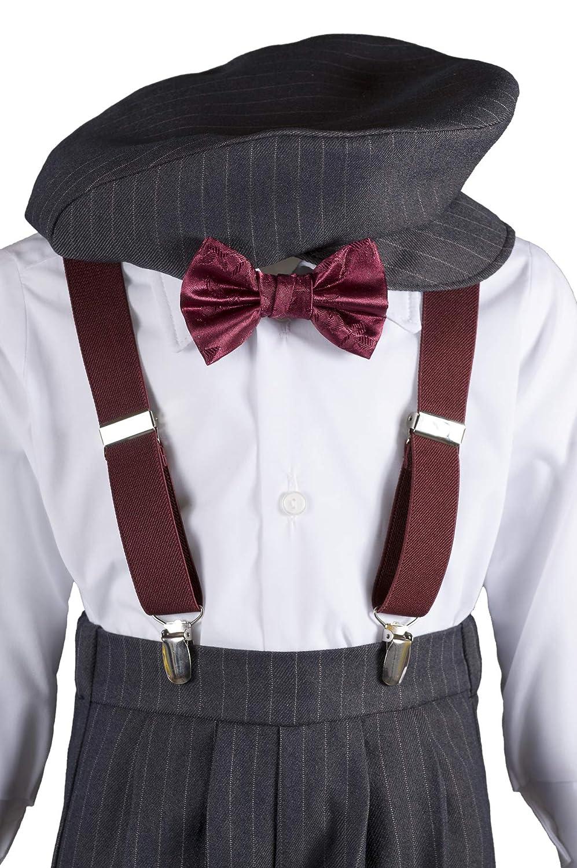 Tuxgear Boys Grey Knickers Pageboy Cap with Rose Bow Tie /& Suspenders
