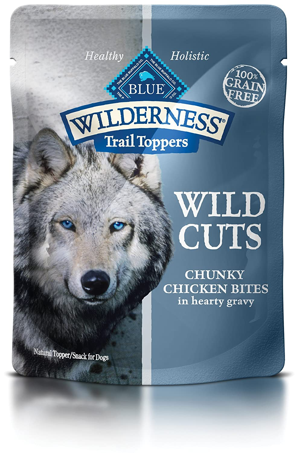 Blue Buffalo Wilderness Trail Toppers Wild Cuts High Protein Grain Free, Natural Wet Dog Food, Chunky Chicken Bites In Hearty Gravy 3-Oz Pouch Pack Of 24