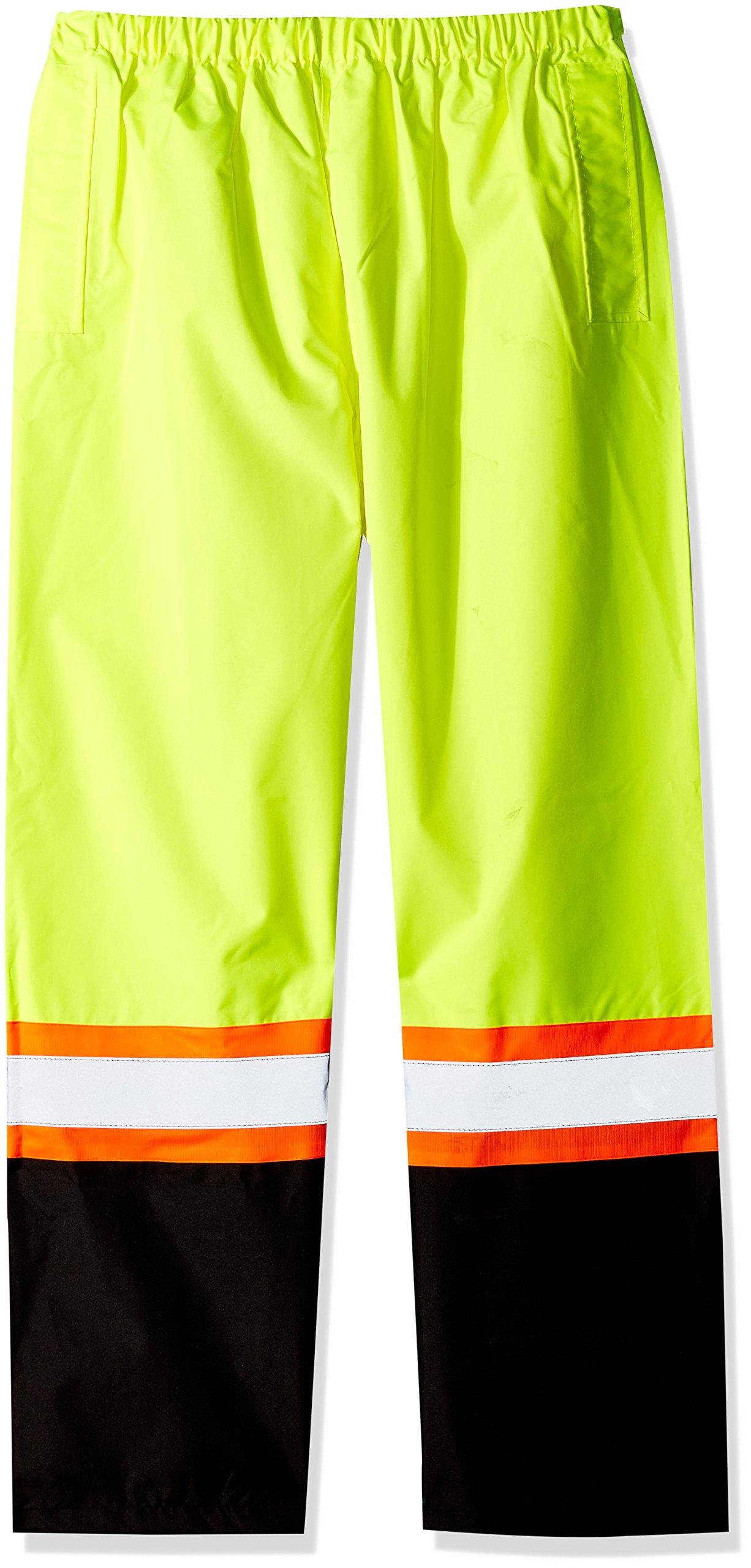SAS Safety 690-1911 Hi-Viz Class-E Rain Pants with Contrast Trim, XX-Large, Yellow