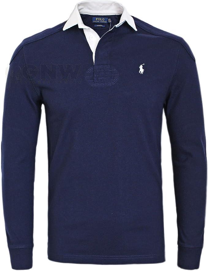 Ralph Lauren Polo Hombre Lujo Puntada Doble Camiseta de Rugby/Top ...