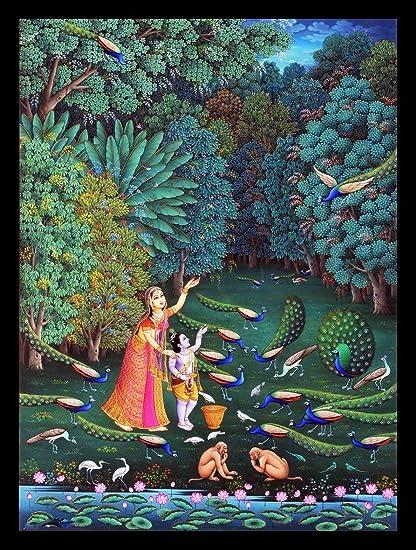 Tallenge Indian Art Painting Yashoda With Krishna Medium Framed