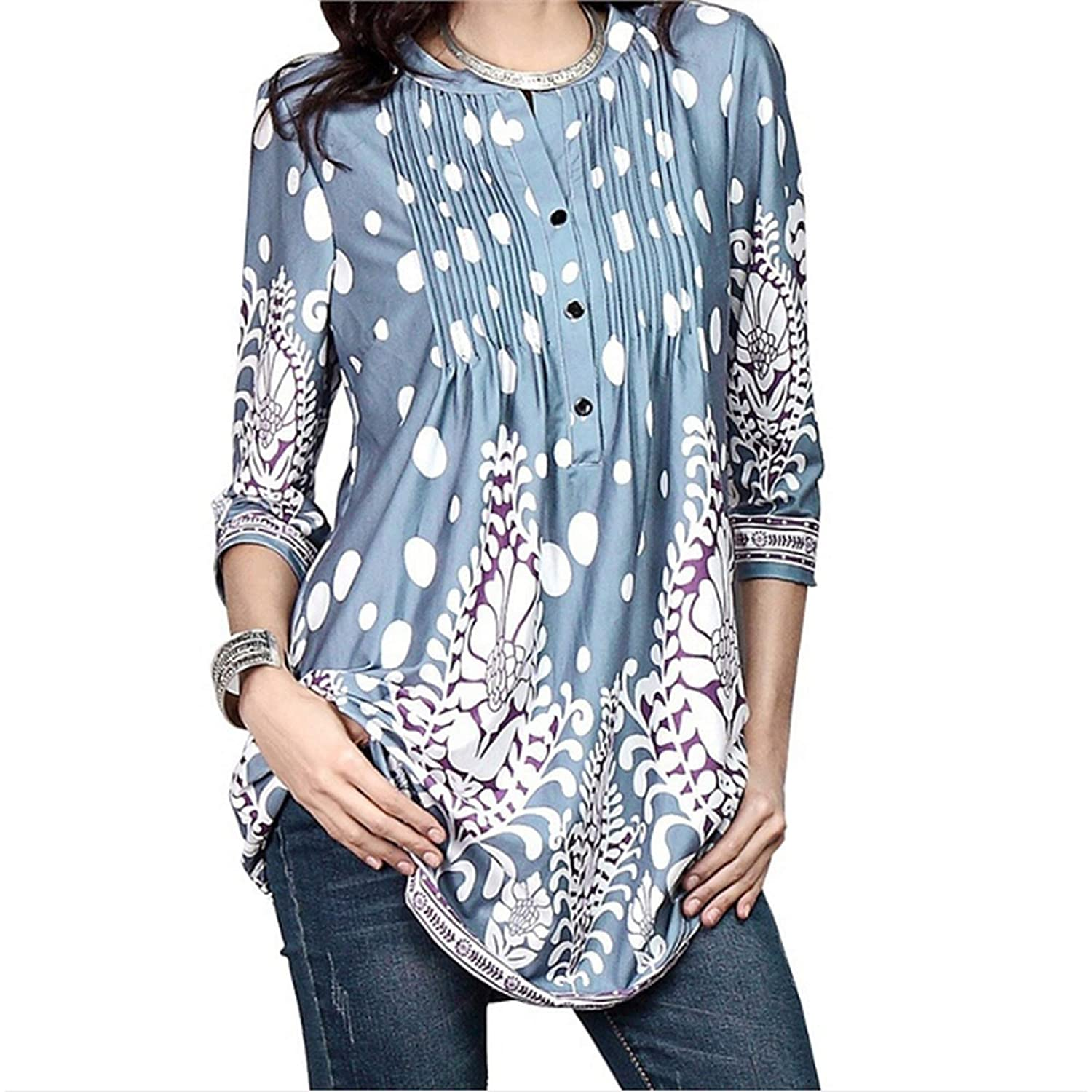 ES-UK Womens Floral Print 3/4 Long Sleeve Tunic Top/Blouse