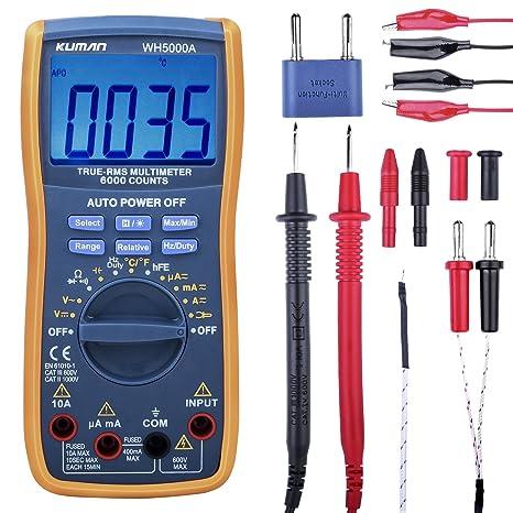 Kuman Multímetro Digital, Verdero RMS 6000 Cuenta Multímetros Oscilación Manual y Automatica, Medidas Voltaje