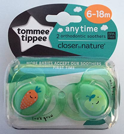 Tommee Tippee Closer To Nature: 2 x Chupete 6-18m (Zanahoria ...