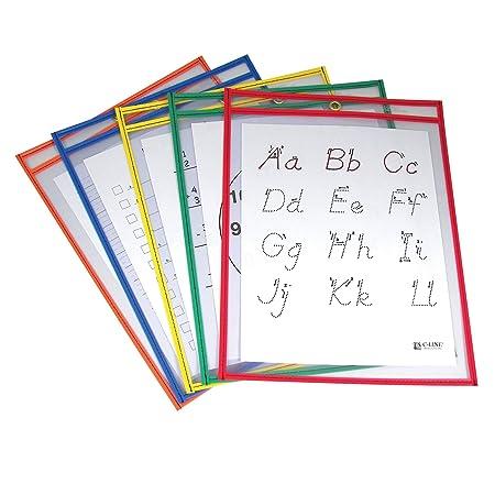 Amazon.com : C-Line Reusable Dry Erase Pockets, 9 x 12 Inches ...