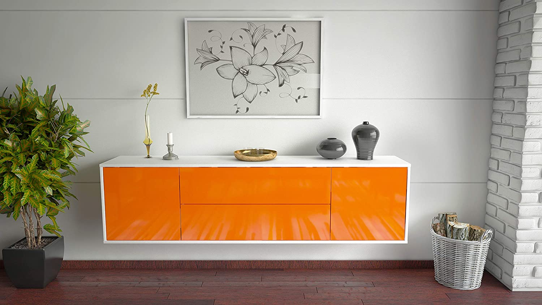 180x49x35cm Korpus Weiss matt Front Hochglanz Orange Dekati Lowboard Cincinnati h/ängend Push-to-Open