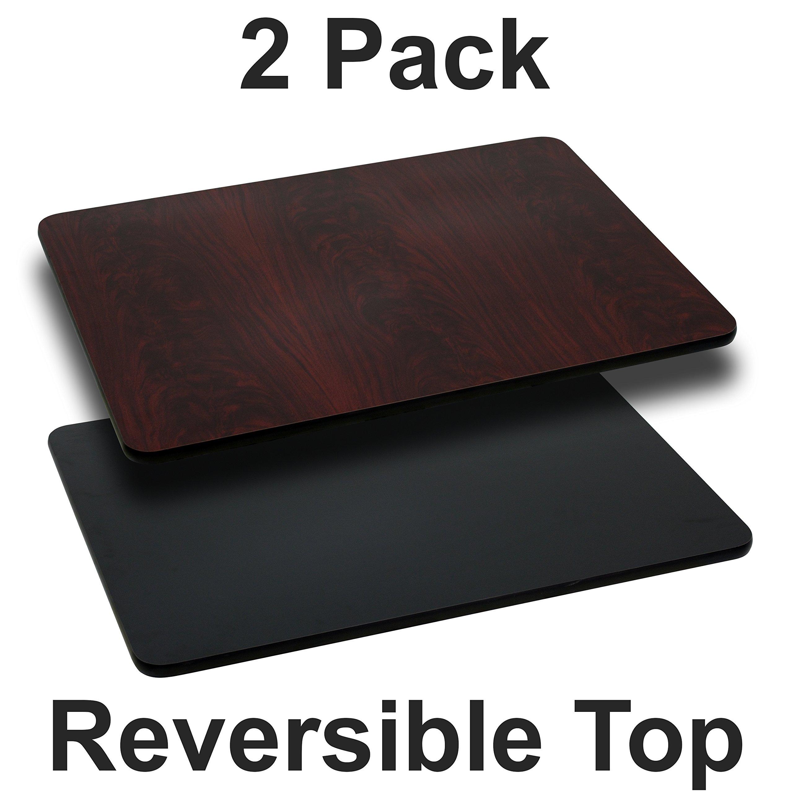 Flash Furniture 2-XU-MBT-3042-GG 30x42 BK/MA Reversible Laminate Tops, 2 Pack, Black/Mahogany