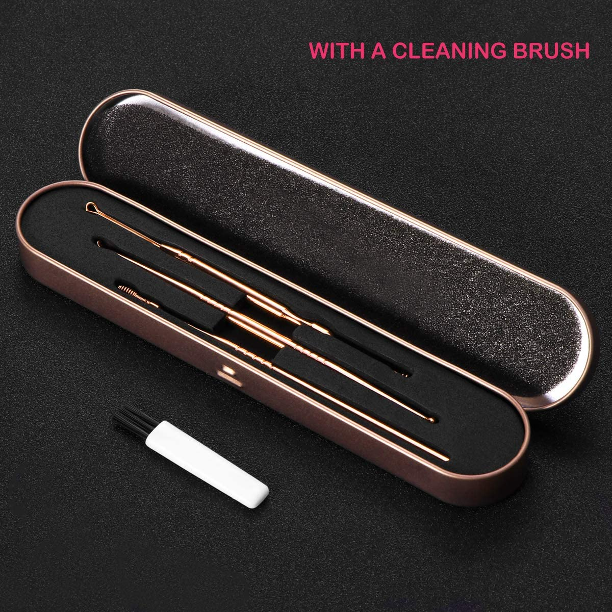 Ear Wax Removal Kit 3PCS Ear Curette with 1PC Cleaning Brush Earwax Removal Ear Pick Stainless Steel with Storage Box (Rose Gold)