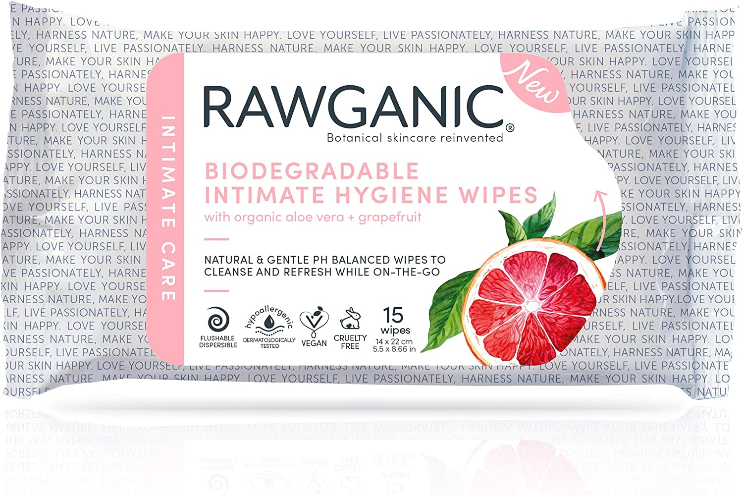 RAWGANIC Gentle Organic Intimate Hygiene Feminine Wipes, Hypoallergenic, Alcohol Free, Flushable and Biodegradable Fragrance-Free Intimate Pre-waxing Wipes (15 Wipes/Pack)