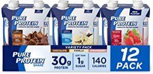 Pure Protein, Complete Protein Ready to Drink Variety Pack, 30g Whey Protein, Snack, with Vitamin A, Vitamin C, Vitamin D, and Zinc to Support Immune Health, 11oz, Pack of 12