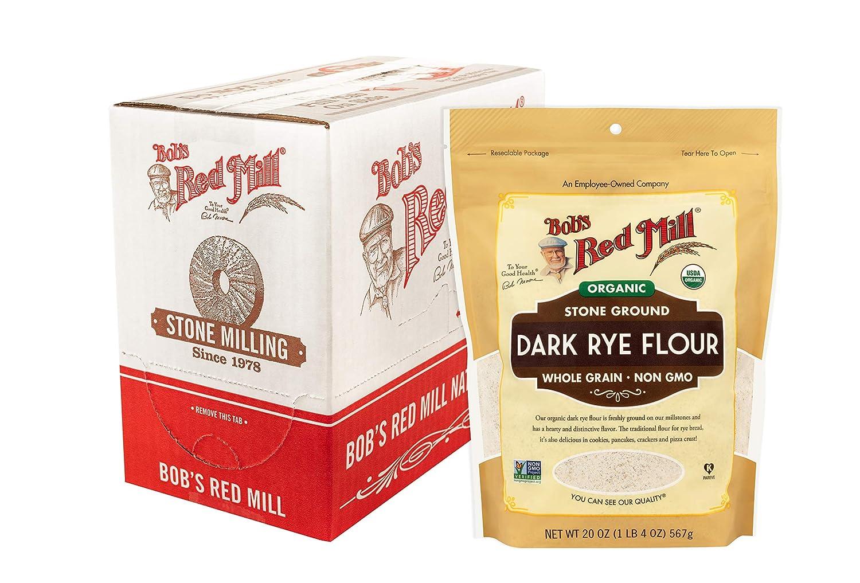 Bob's Red Mill Organic Dark Flour, rye, 20 (Pack of 4)