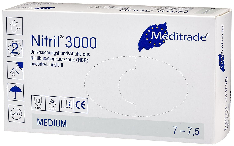 Meditrade 1280M Nitril 3000 Lot de 100 gants en nitrile jetables Taille M