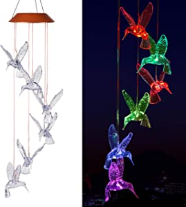 Hummingbird Solar Wind Chimes Light Outdoor Hanging - Waterproof Mobile Romantic Solar Powered Changing Color LED Hummingbird Wind Chimes for Home, Party, Festival, Night Garden Decoration, Xmas Gifts