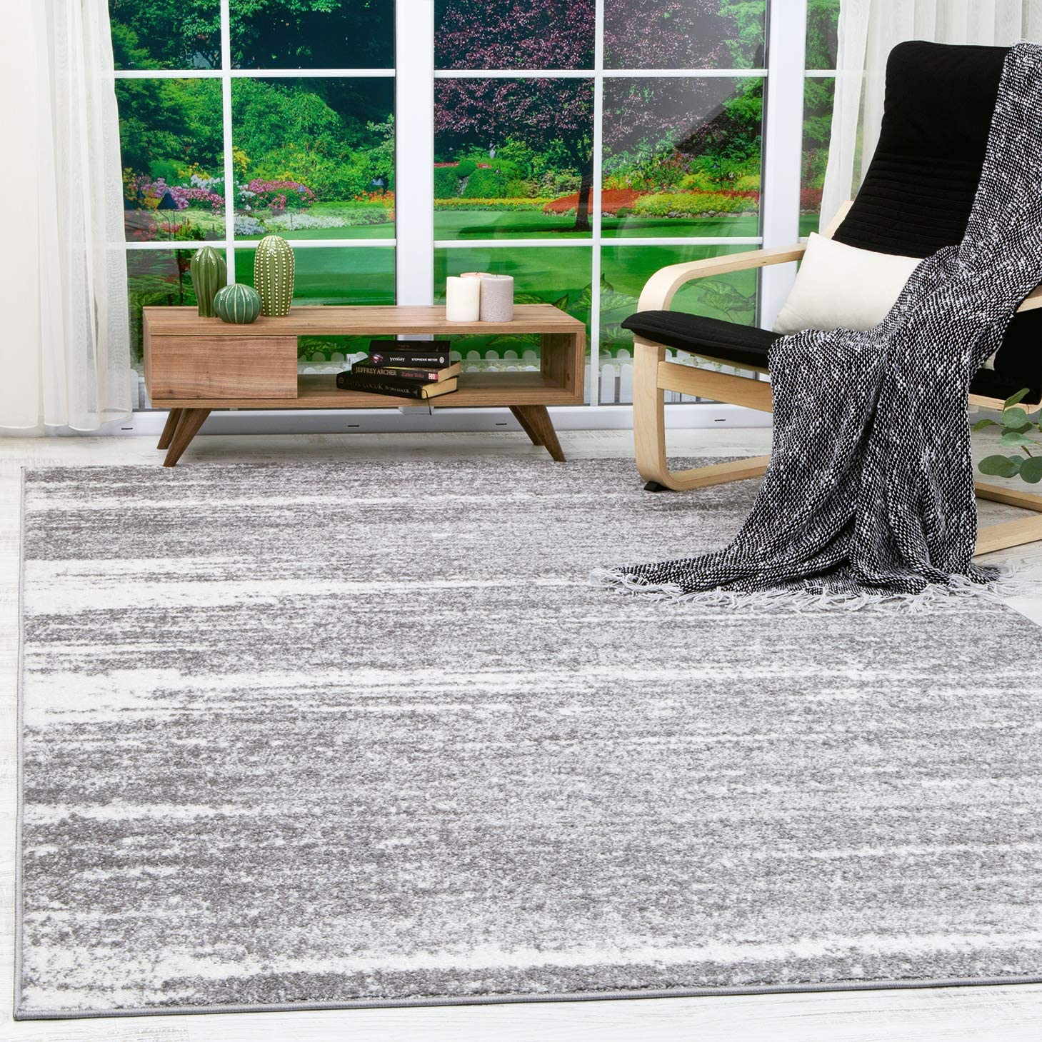 Antep Rugs Siesta Collection Modern Contemporary Polypropylene Indoor Area Rug Grey/Cream