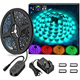 Waterproof LED Strip Lights 5M MINGER Music Rope Lighting Built-in Mic, 5050 SMD RGB Color Changing with Music String Lights with Controllor for Indoor/Outdoor Home Kitchen Cabinet TV Lighting Decoration
