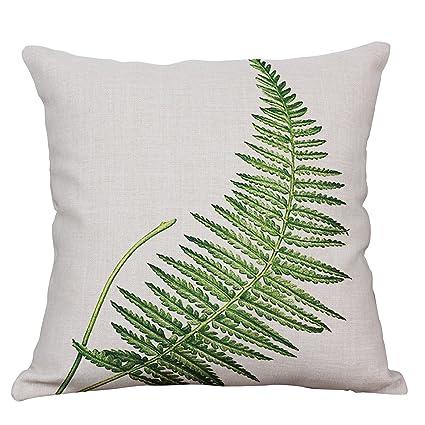 Amazon Com Yeeju Green Leaf Decorative Throw Pillow Covers Cotton