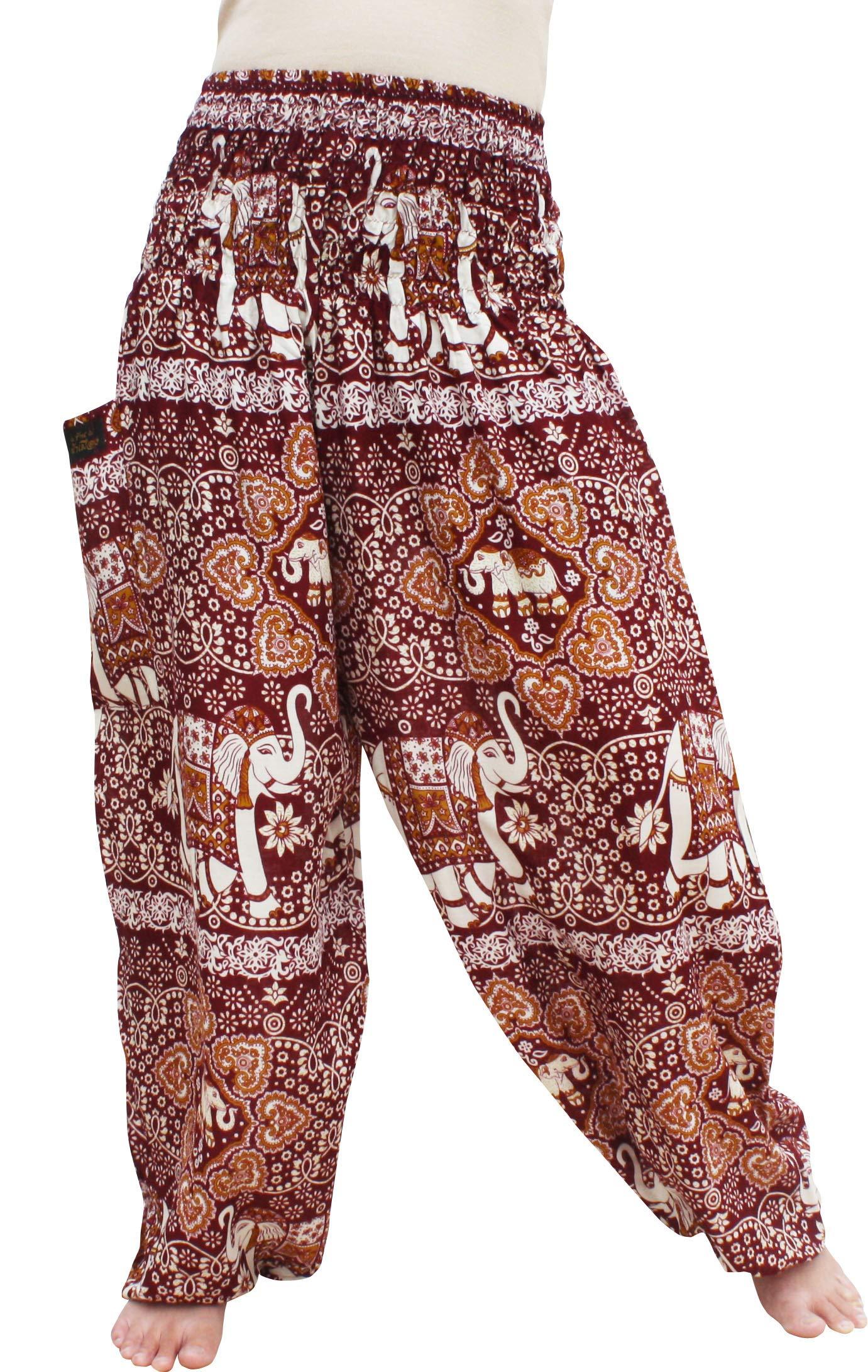 RaanPahMuang Brand Smock Waist Rayon Mixed Art Harem Baggy Aladdin Pants, Medium, Intricate Elephant - Dark Red by RaanPahMuang
