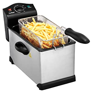New VonShef 220 240 Volts Electric Countertop Non-Stick Deep Fryer w/ Viewing Window | 3-Liter Stainless Steel And Easy To Clean | Bundled With Dynastar Plug Adapter