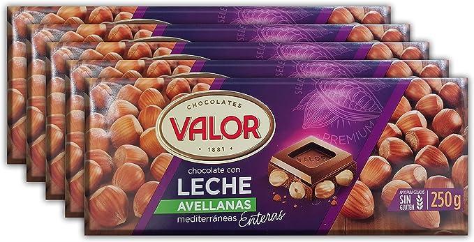 Pack de 5] Chocolate con leche y avellanas Valor, 250 gr: Amazon.es: Alimentación y bebidas