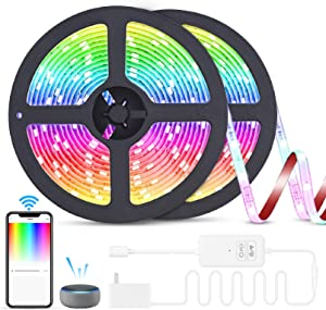 RGB LED Strip Lights,Music Sync Color Changing Strip Lights Work with Alexa Google Home,Phone Controlled Light Strips for Bedroom,Room,Kitchen,Festival Decorations,3M Adhesive Bright 5050 LED Beads