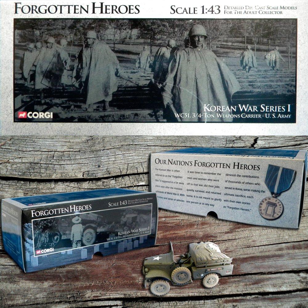 Forgotten Heroes Corgi Die Cast 1:43 Scale Korean War Series I WC51 3/4 Ton Weapons Carrier U.S. Army