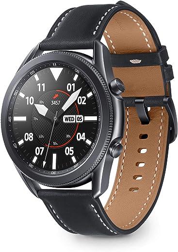 Samsung Galaxy Watch3 Smartwatch Bluetooth, cassa 45mm acciaio, cinturino pelle, Saturimetro, Rilevamento cadute, Monitoraggio sport, 53,8g, Batteria 340 mAh, IP68, Mystic Black [Versione Italiana]