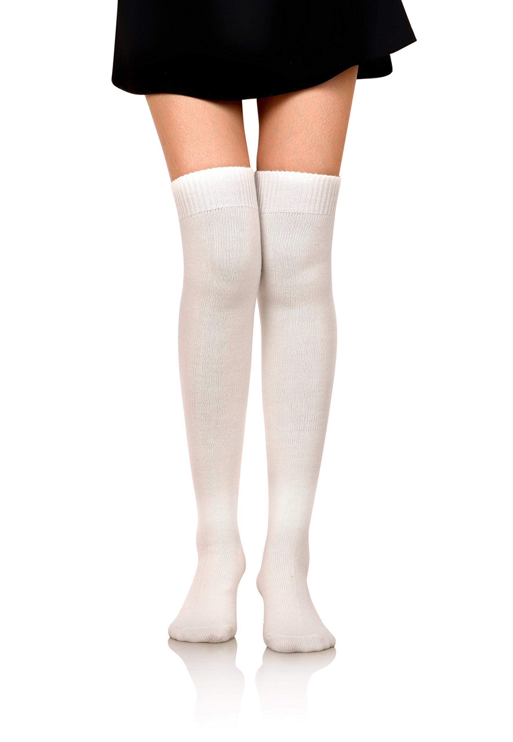 DoSmart Women Girls' Winter Warm Leggings Boot Stockings Knee High Wool Socks (White)
