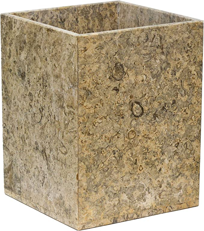 Amazon Com Polished Marble Wastebasket Fossil Shower And Bathroom Accessory Home Kitchen