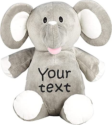 Amazon Com Personalized Stuffed Elephant With Two Lines Of