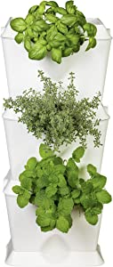 Minigarden One 1 Set for 3 Plants, Modular & Expandable Vertical Garden, Freestanding or Wall Mounting, Innovative Drainage System, Long Life Cycle (White)