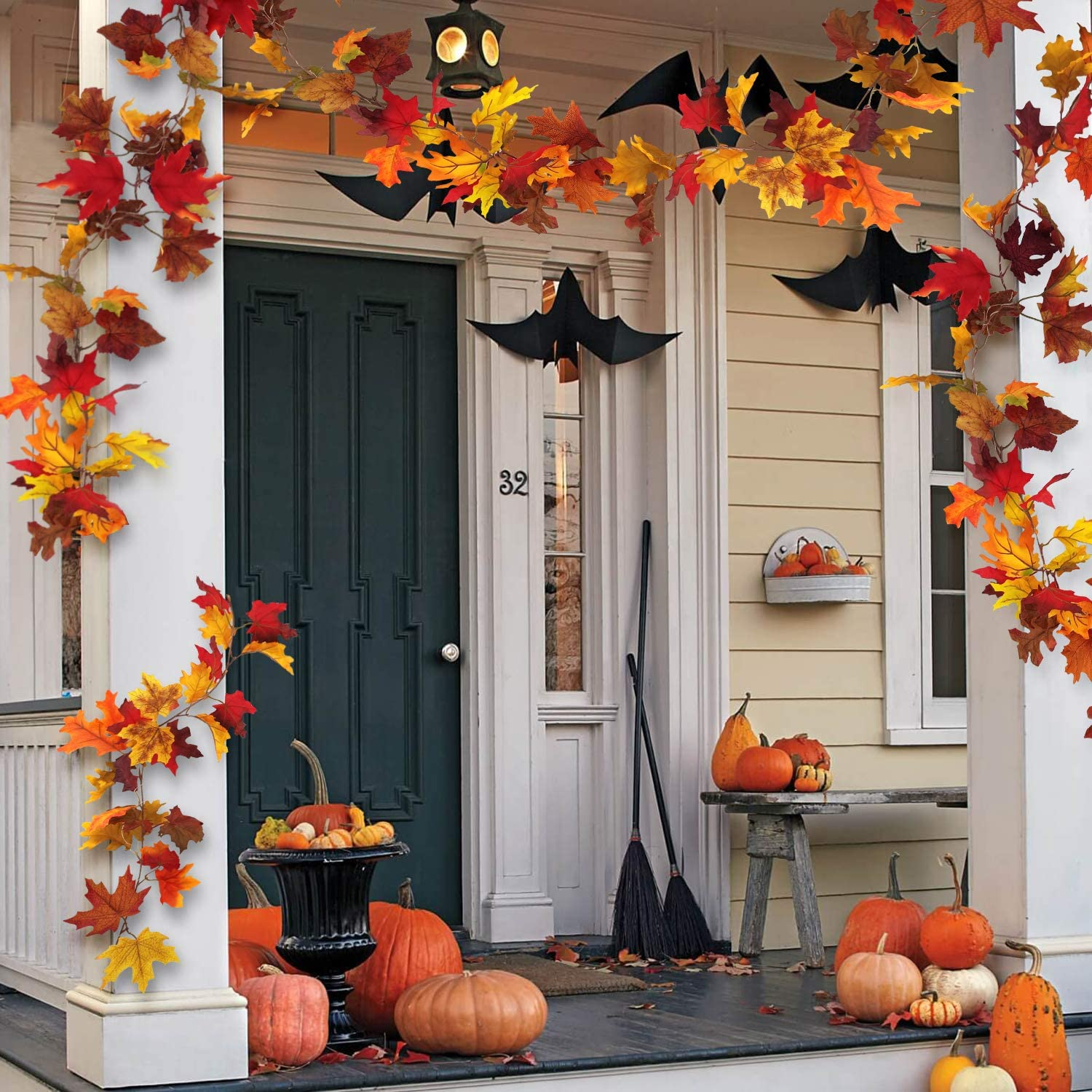 TURNMEON Maples Leaf Fall Garland 7Ft 20LED String Lights Battery Operated Fall Halloween Thanksgivings Decor for Home Indoor Outdoor Party Bedroom Mantel Decorations Warm White