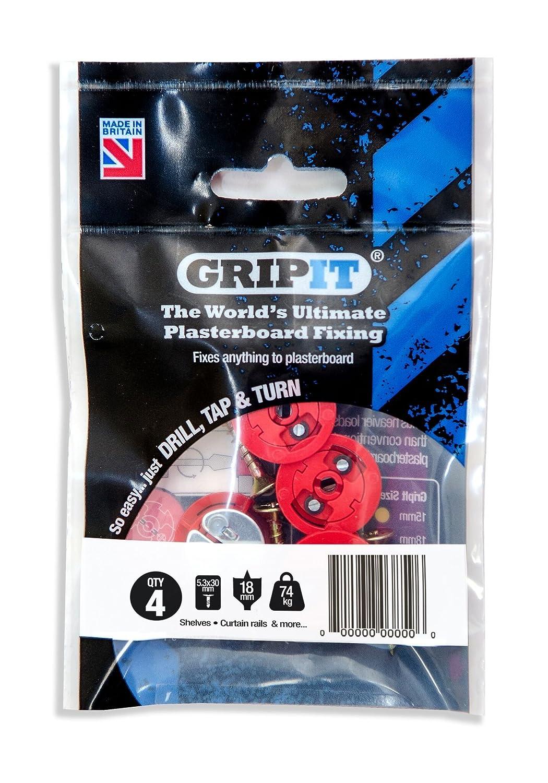 GripIt Rot 18 mm Gipskarton-Befestigungen für Ständerwände – Maximale Belastung 74 kg (4 Stück) 162-254