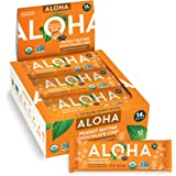 ALOHA Organic Plant Based Protein Bars  Peanut Butter Chocolate Chip   12 Count, 1.98oz Bars   Vegan, Low Sugar, Gluten Free,