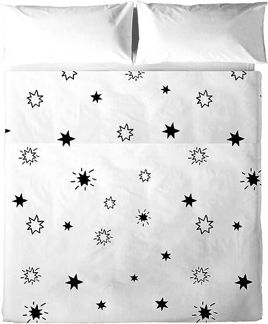 Oh Estrellas Juego Sabanas, Algodón, Negro, Cama 135 (220x270 cm ...