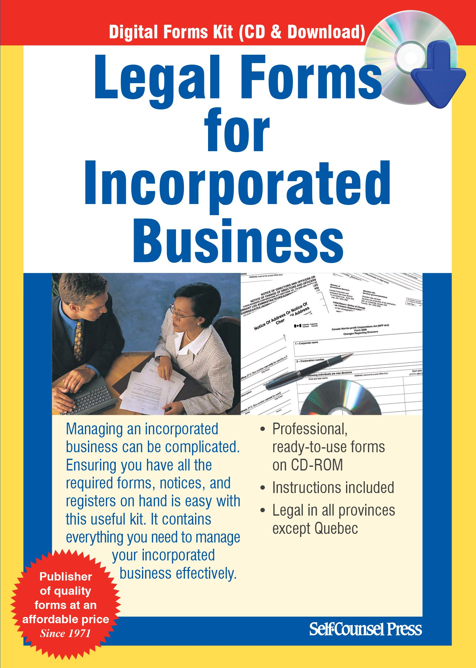 Legal Forms For Incorporated Business: Self-Counsel Press
