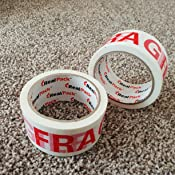 Pack of Heavy Duty Strong Long Secure Sticky Seal Fragile Print Tape ROLL 6 Rolls of TRENDWEARZ Fragile Printed Packing Tapes 66MX48MM for PARCELS and Boxes