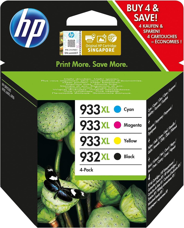 HP 932XL-933XL C2P42AE, Pack de 4, Cartuchos de Tinta Originales Negro y Tricolor, compatible con impresoras de inyección de tinta HP OfficeJet 6100, 6600, 6700, 7110, 7510, 7610, 7612: Amazon.es: Oficina y papelería