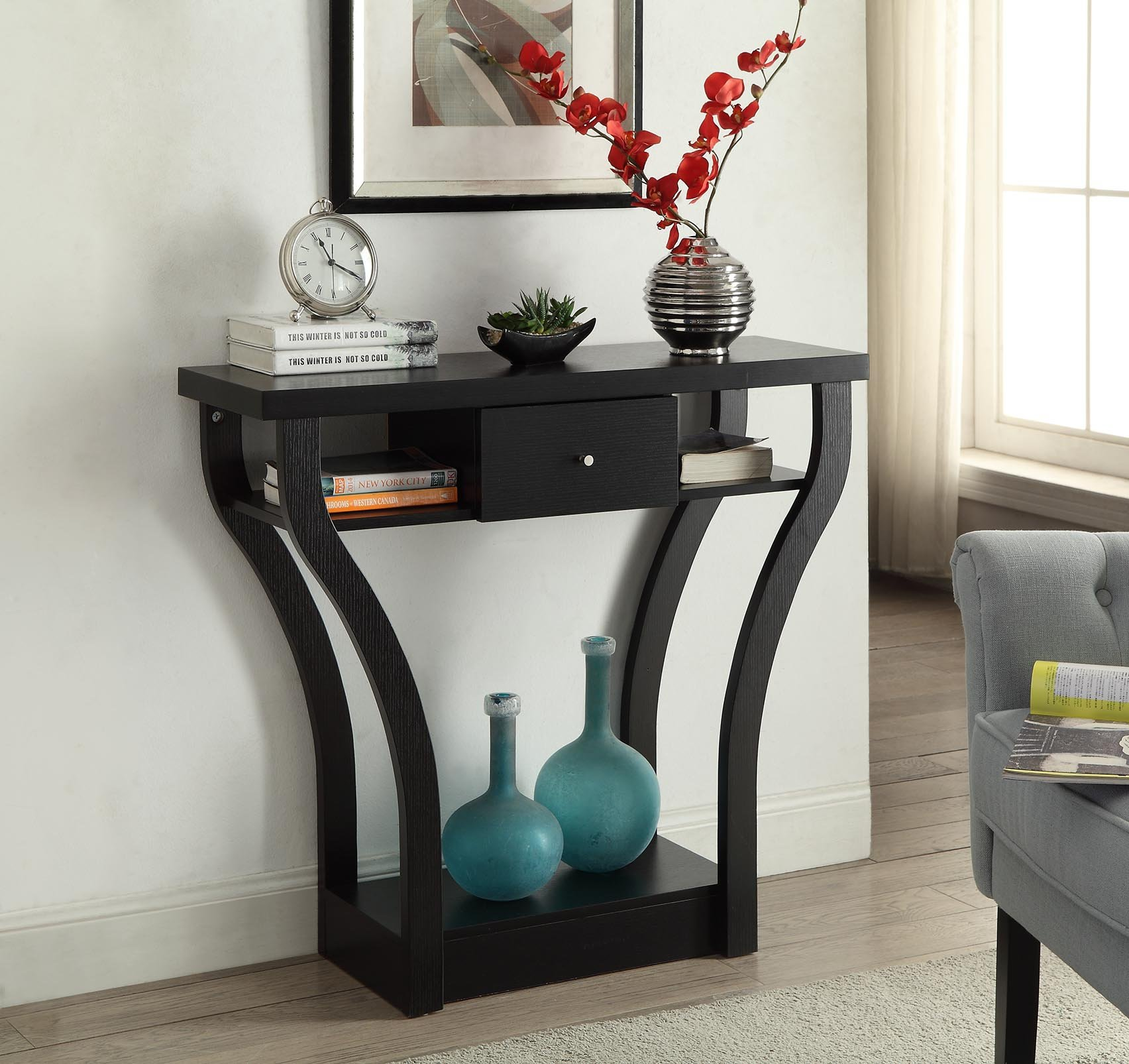 Black Finish Curved Console Sofa Entry Hall Table with Shelf / Drawer by eHomeProducts