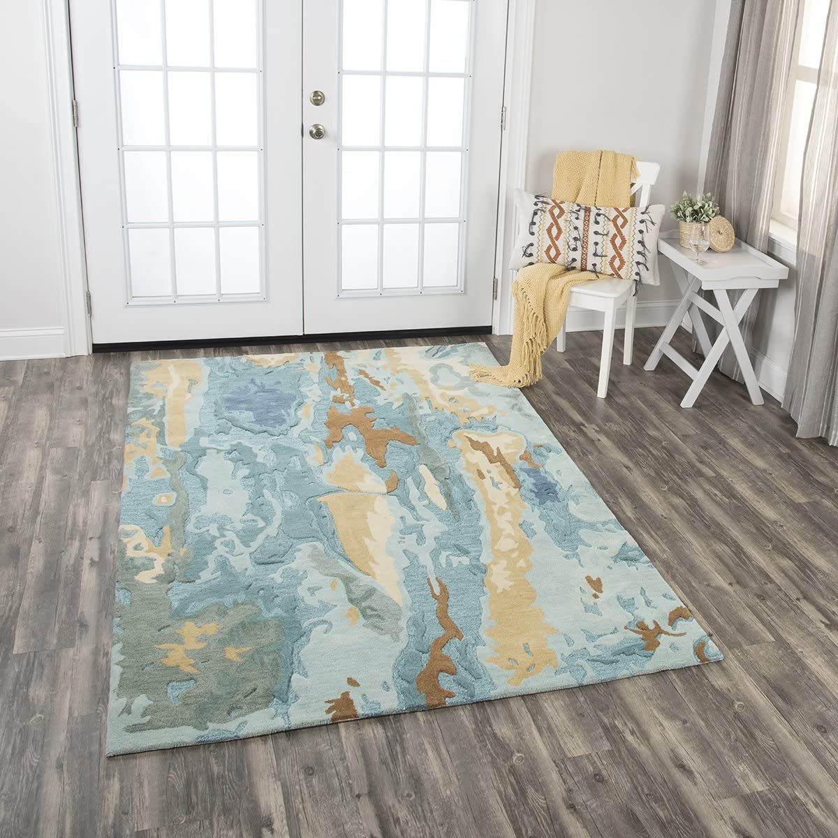 Rizzy Home Vogue Collection Wool Area Rug, 5' x 8', Blue/Grey/Teal/Gold