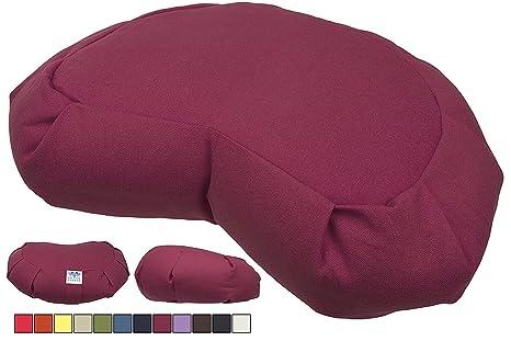 Cuscino Cilindrico Per Yoga.Calmingbreath Cuscino Cilindrico Per Yoga Imbottito Di Grano Saraceno Naturale Ecologico Taglia L Colore Rosso Indiano