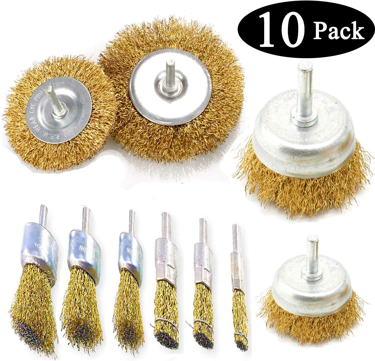 "2/"" Brass Coated Crimped Wire Cup Brush with ¼"" Hex Shank for Impact Driver Drill"