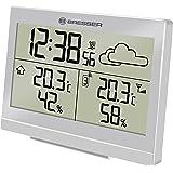 Bresser Funkwetterstation Temeo Trend LG für Temperatur und Luftfeuchtigkeit inklusive Wettertrend-Vorhersage, Funkuhr mit Wecker und Außensensor, silber