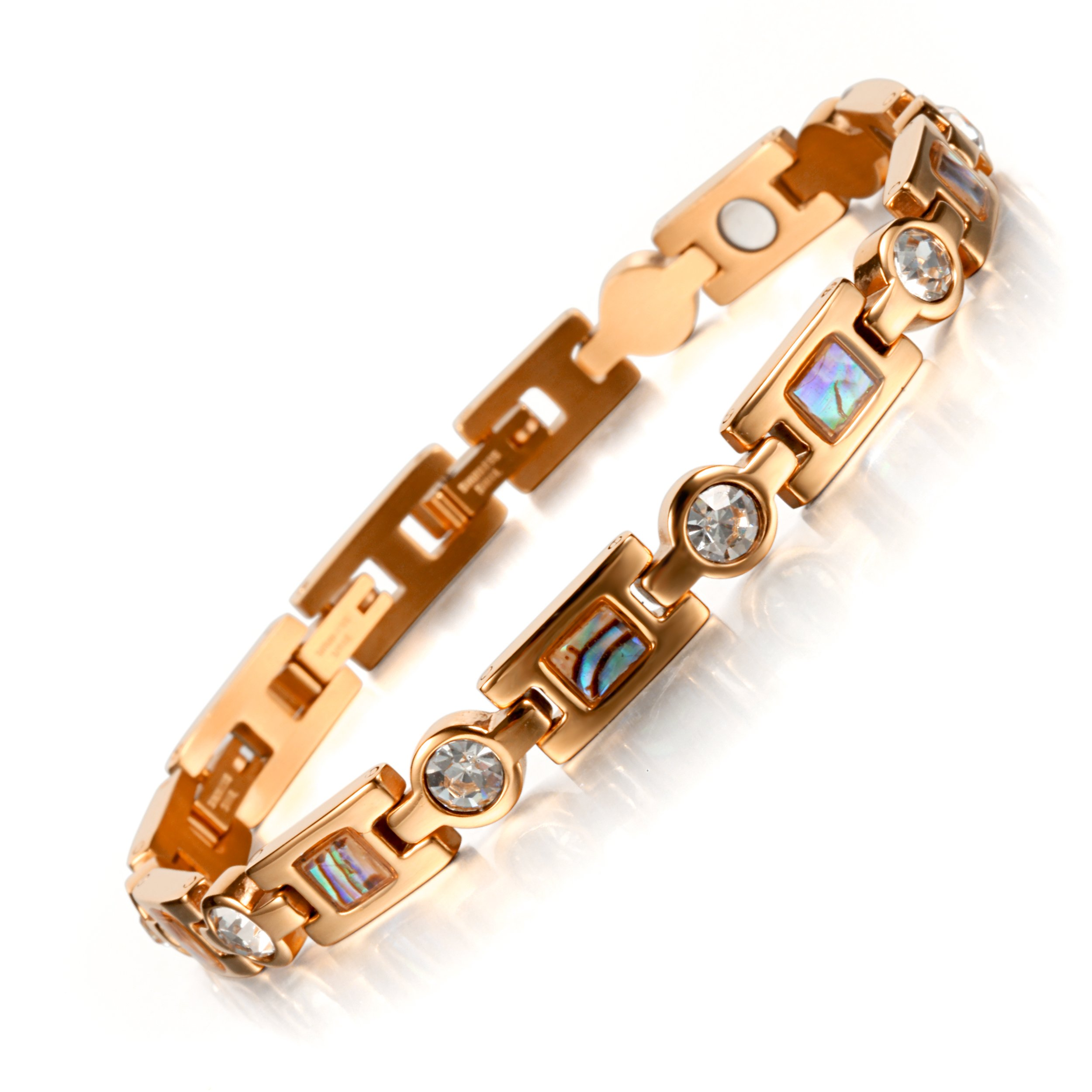 Rainso Titanium Steel Magnetic Therapy Bracelets for Women Rhinestone Health WristBand with 3 Smart Buckle (Rose Gold)