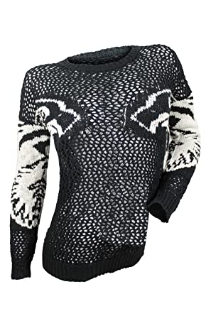 28a26a042dc Romeo   Juliet Couture Women s Black Ivory Intarsia Pattern Sweater ...